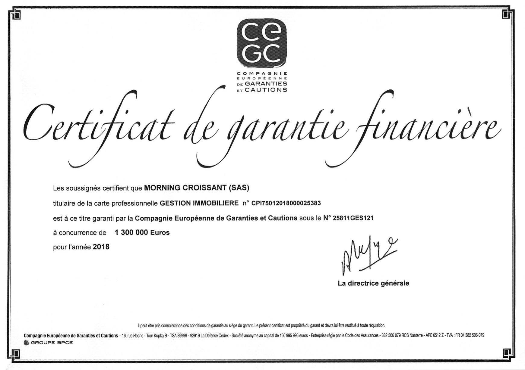 Certificat Garantie Financiere